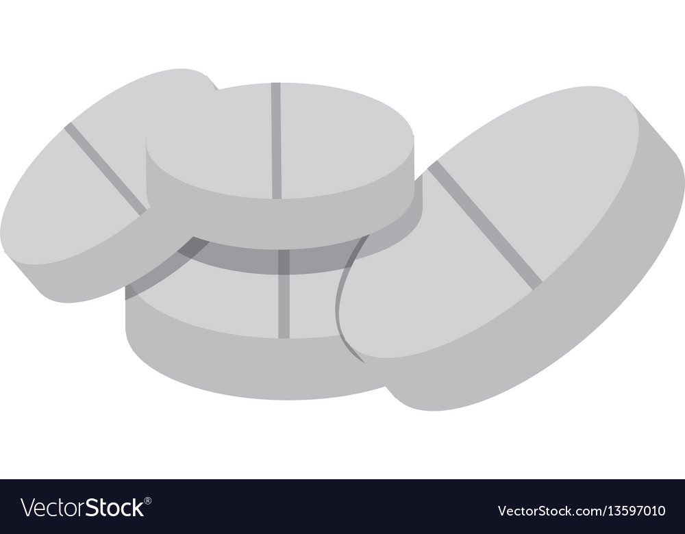 White tablets medication icon vector image