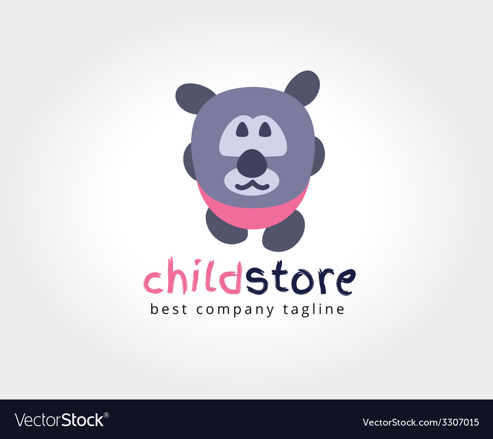 Abstract bear cute character logo icon concept