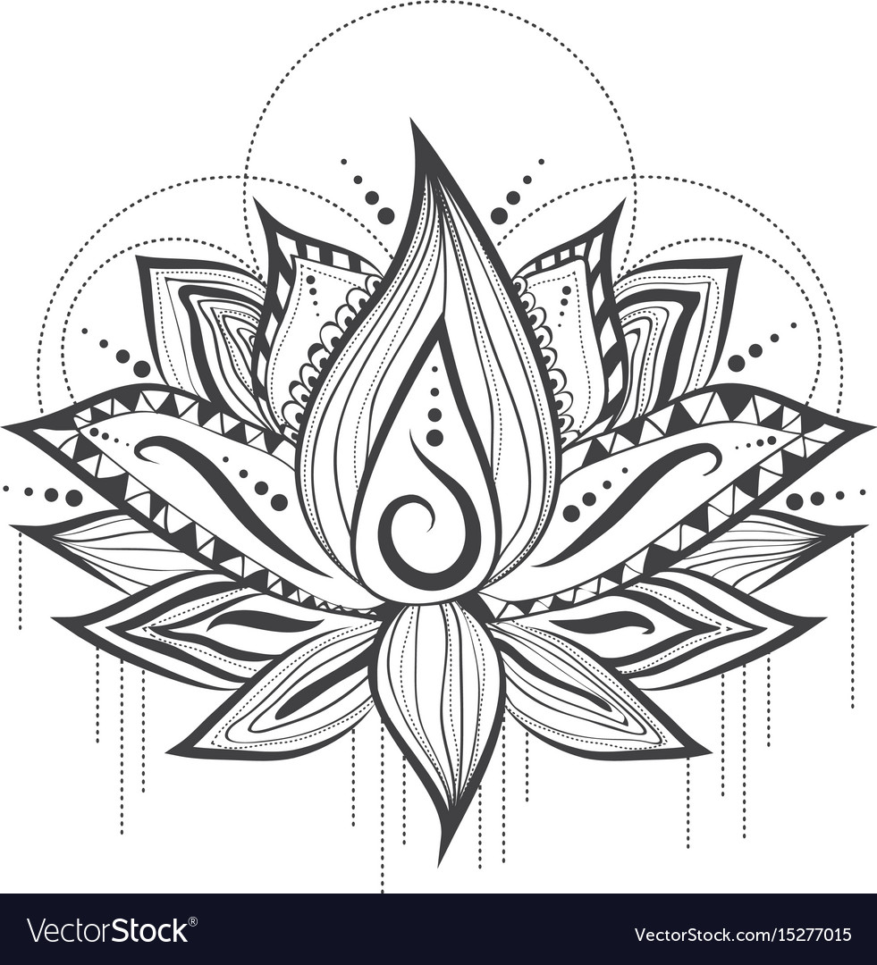 Abstract Tattoo Logo Design Of Lilly Lotus Flower Vector Image
