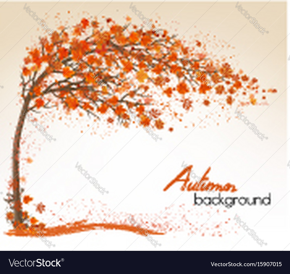 Autumn background with a tree and a colorful vector image