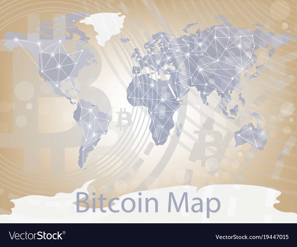 Bitcoin cryptocurrency map worldwide