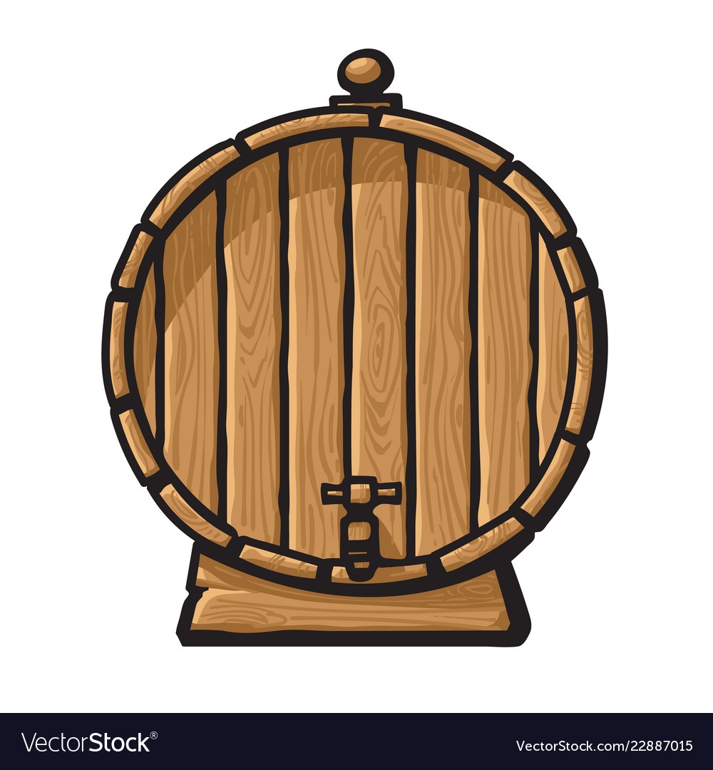Cartoon old wooden barrel with tap hand drawn