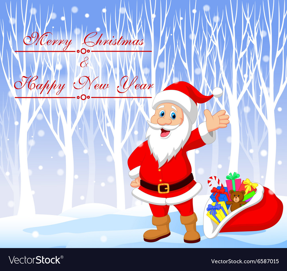 Cartoon Santa clause with winter background