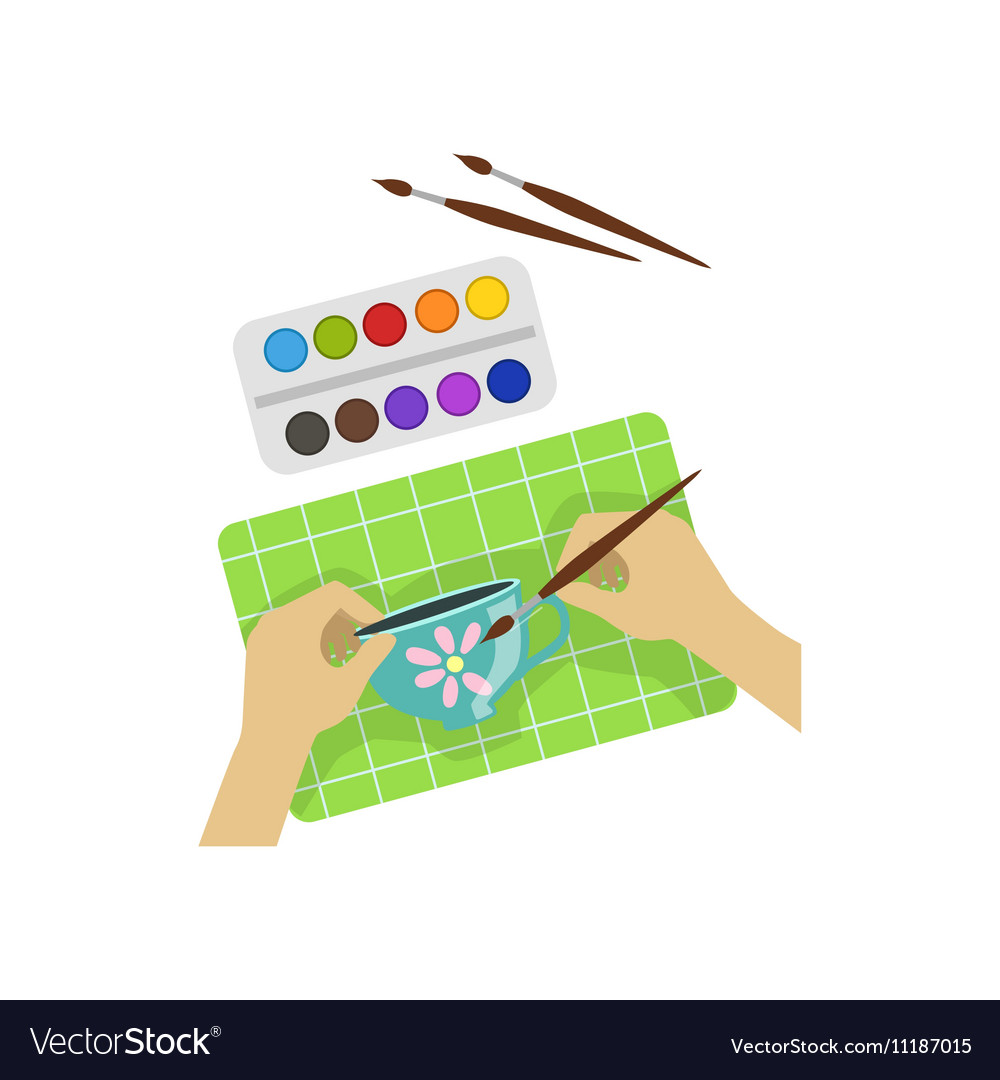 Child Painting Cup With Only Hands vector image