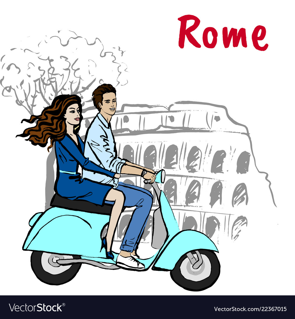 Couple driving scooter in rome