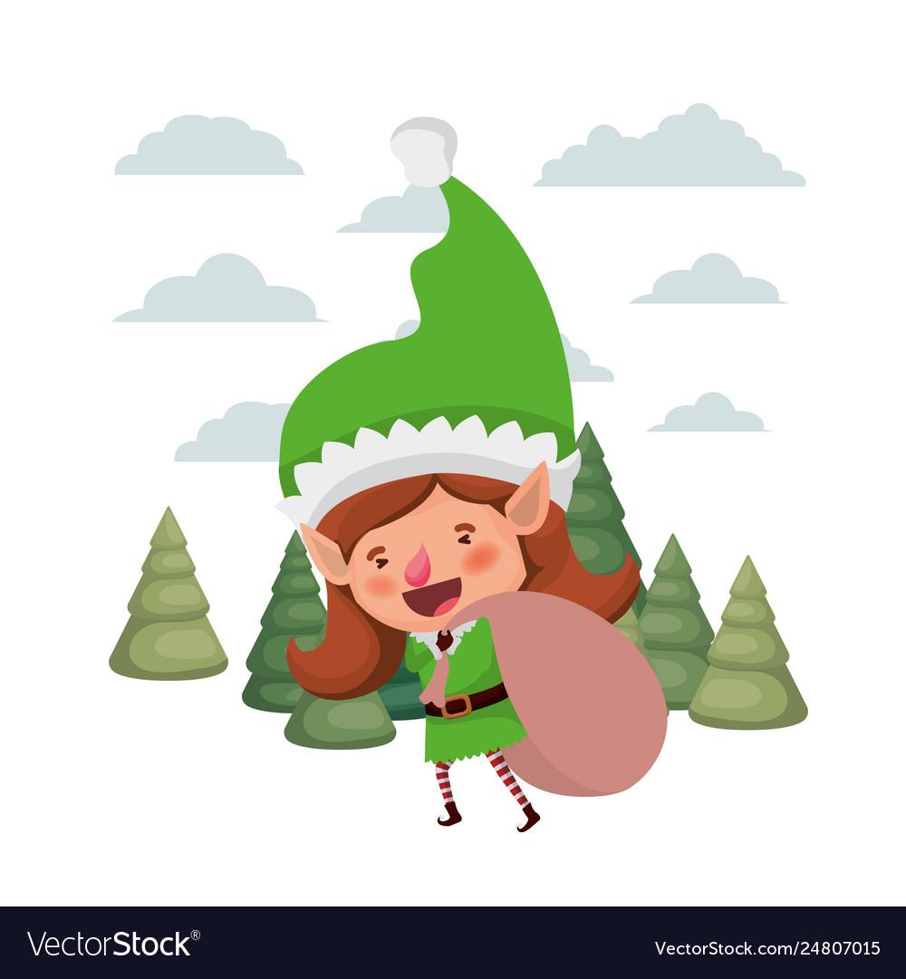 Elf Christmas Gift Bags.Elf Woman With Gift Bag With Christmas Trees