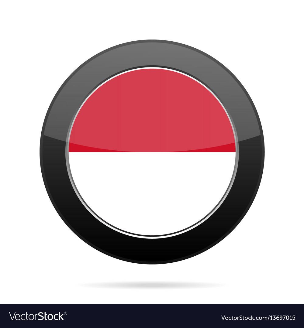 Flag of monaco shiny black round button