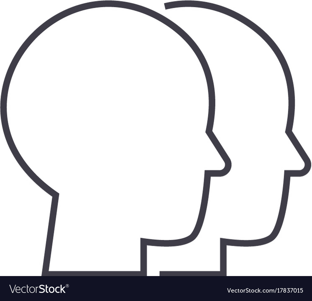 Heads line icon sign