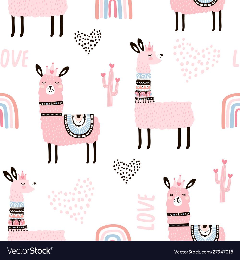 Seamless pattern with llama princess hearts