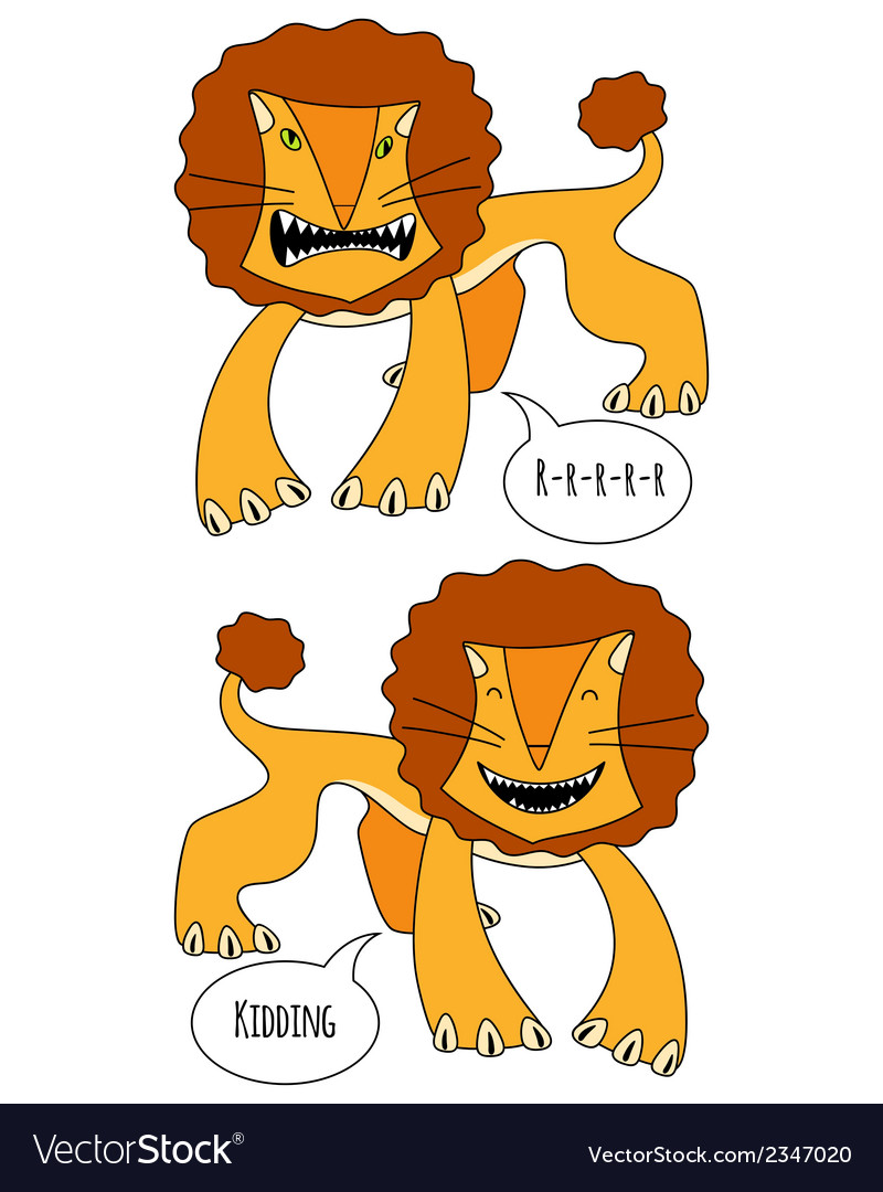 Angry and smiling lions