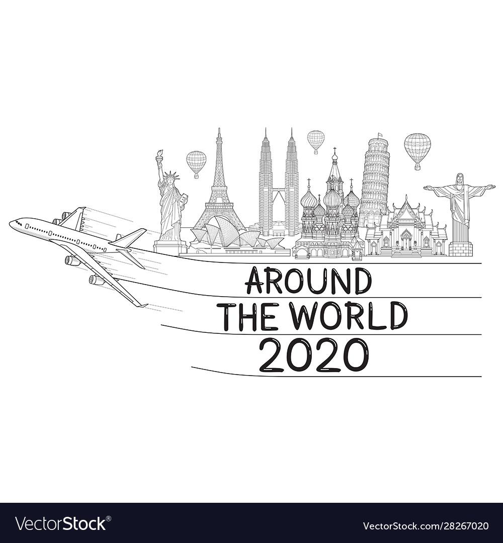 Around world with airplane travel landmark