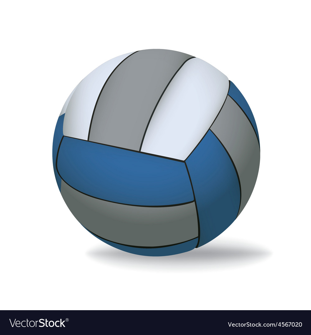 Blue and Grey Volleyball Isolated on White vector image