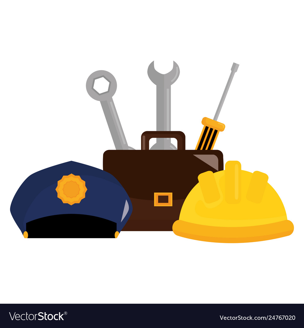 Builder helmet with police hat and tools