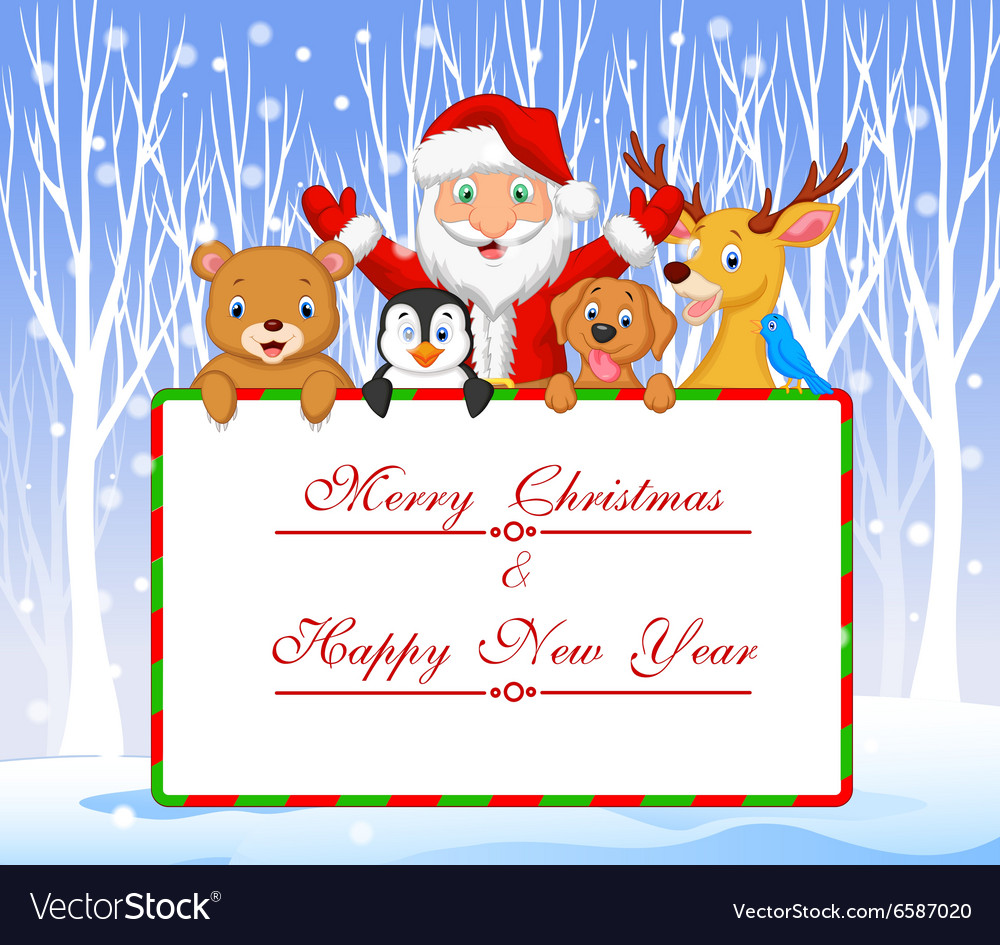 Cartoon Santa and friend holding Christmas