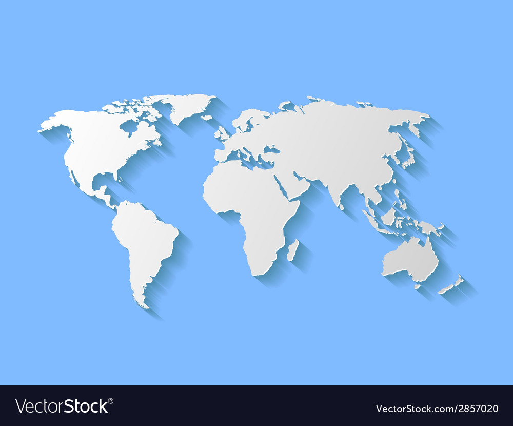 Decorative World Map With Shadow Royalty Free Vector Image