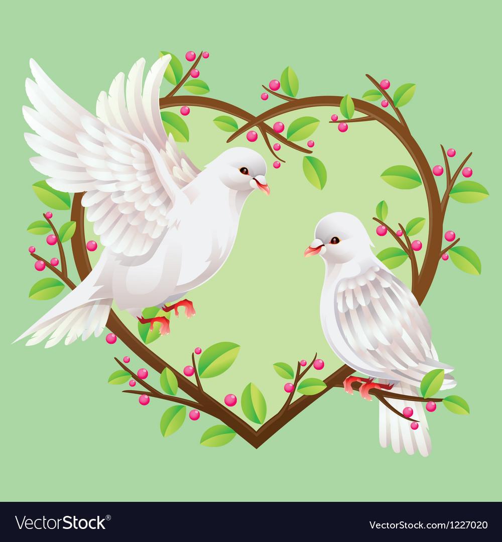 Dove on a heart shape tree