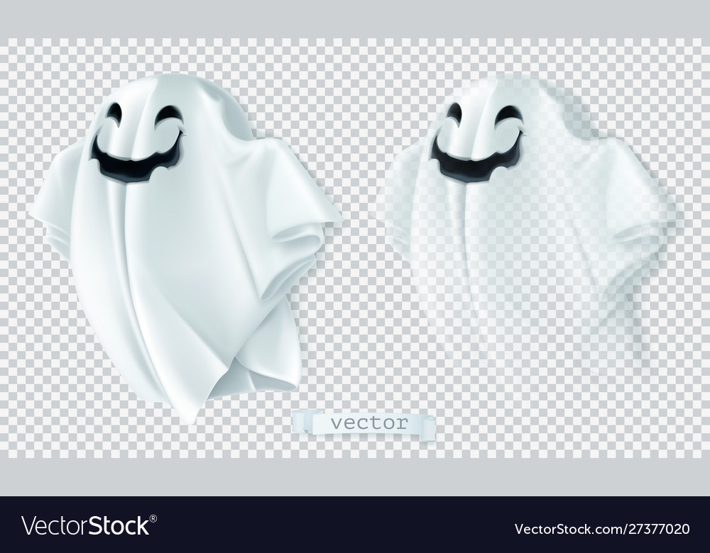 Ghost with shadow and transparency happy
