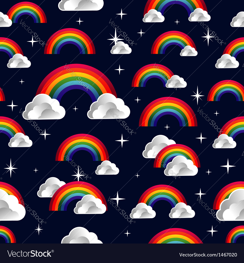 Rainbow clouds cartoon seamless pattern vector image