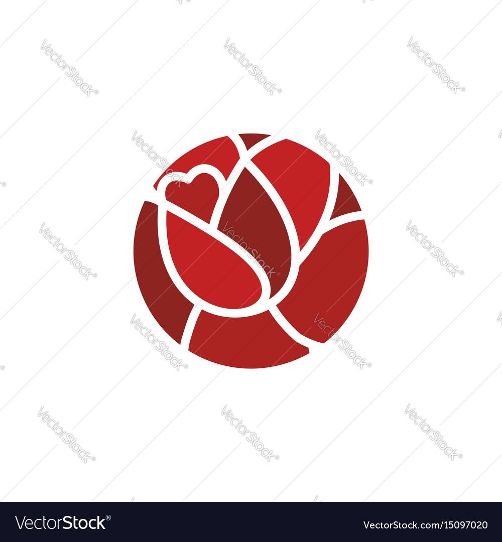 Rose logo flower emblem flowers shop symbol vector image