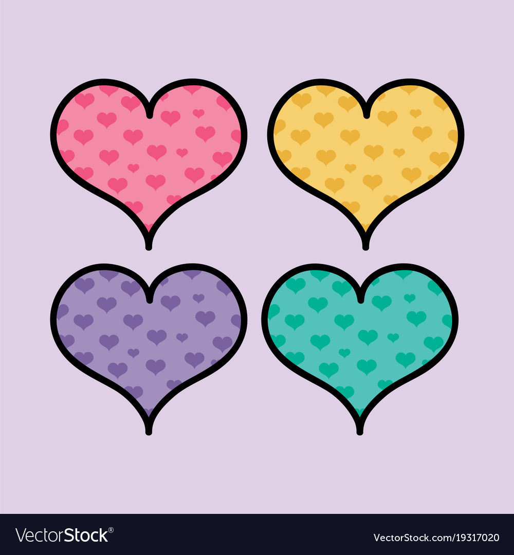set color hearts shapes to love symbol royalty free vector