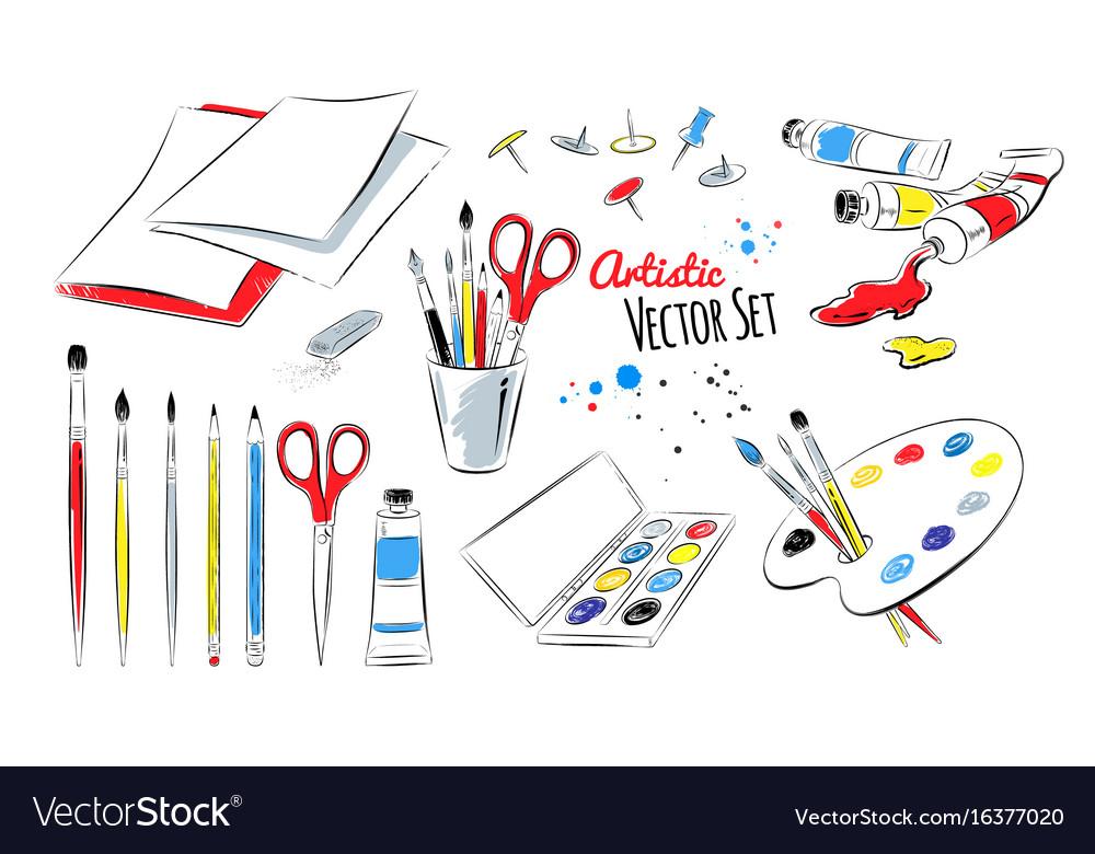 Set of artists supplies