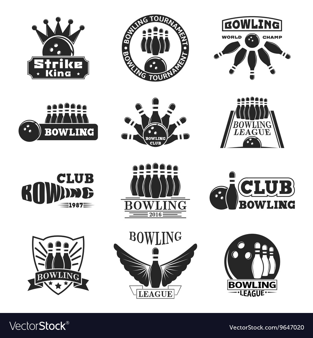 Set of bowling emblems