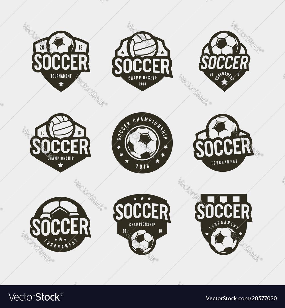 Set of football soccer logos sport emblems