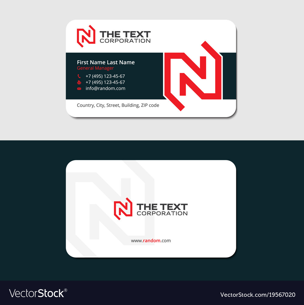 Visiting Card With Red Letter N Vector Image