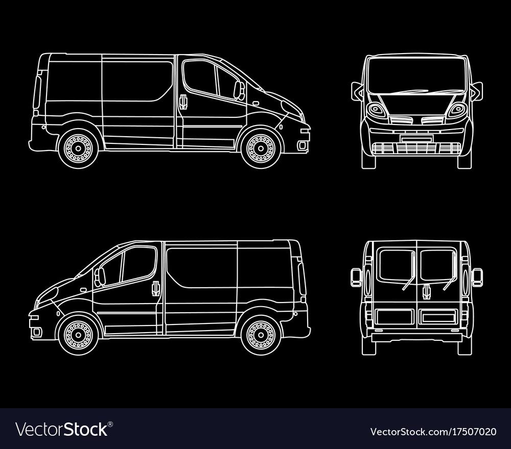 White linear car cargo minivan isolated on