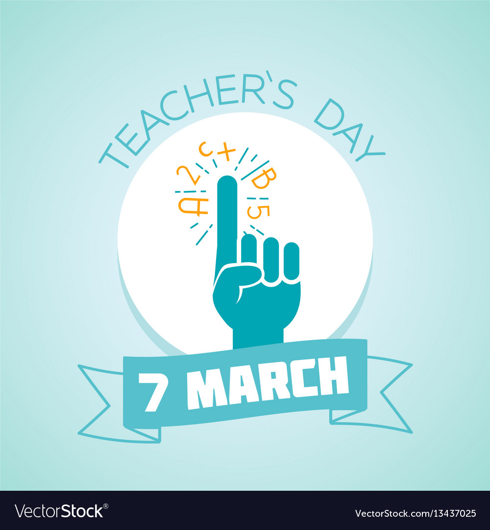7 march teacher day vector image