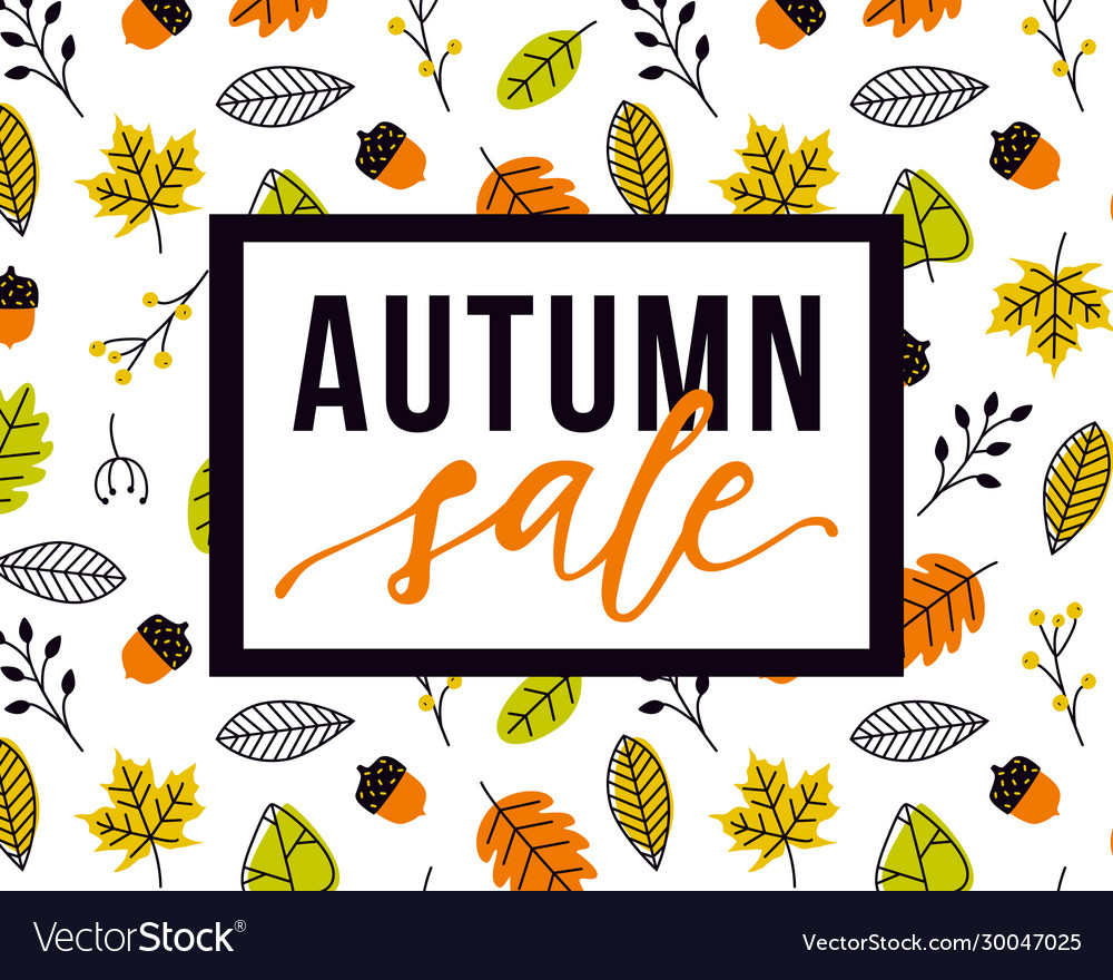Autumn sale flyer template with lettering and