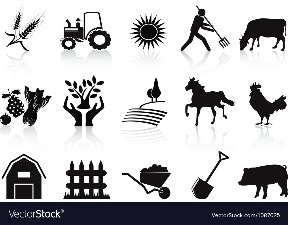 Black farm and agriculture icons set