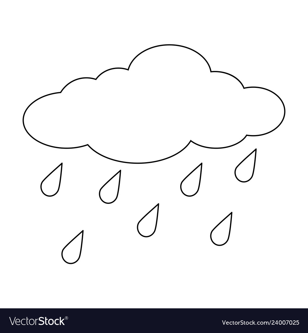 Cartoon Cloud With Rain Drops Outline Isolated On Vector Image To get more templates about posters,flyers,brochures,card,mockup,logo,video,sound,ppt,word,please visit pikbest.com. vectorstock