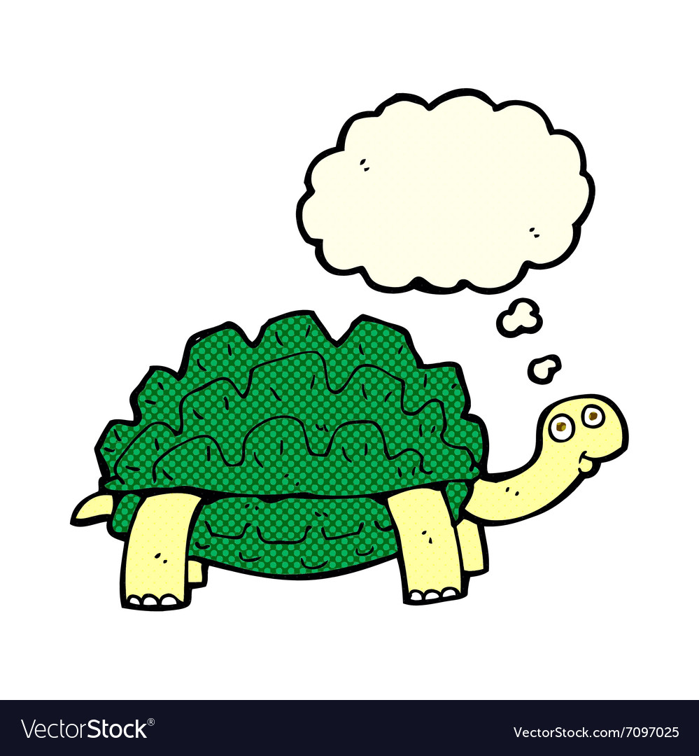 Cartoon tortoise with thought bubble vector image