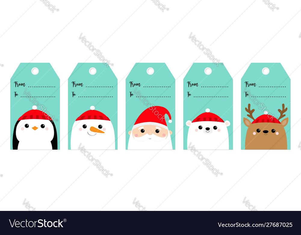 Christmas gift tag set santa claus white polar