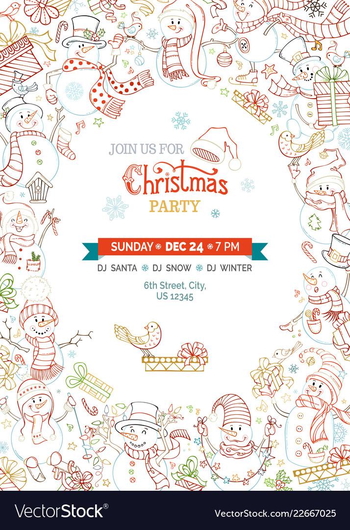 Christmas Party Invitation Template.Christmas Party Invitation Template With Cute