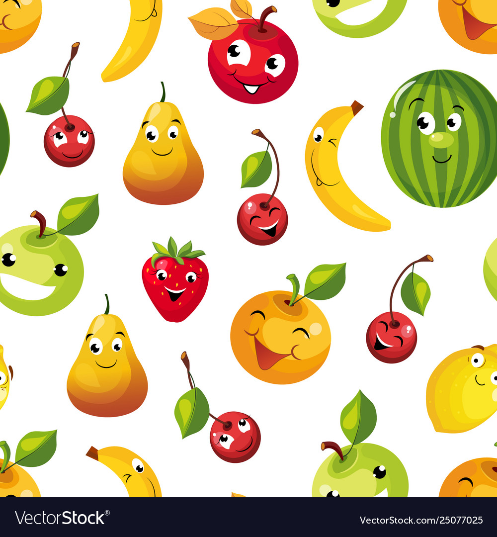 Cute funny fruits seamless pattern pear apple