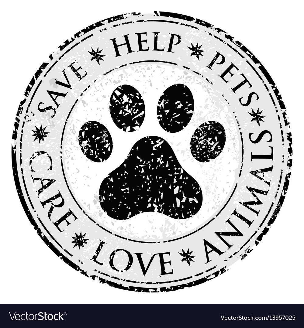 Dog paw sign icon pets symbol dirty textured web