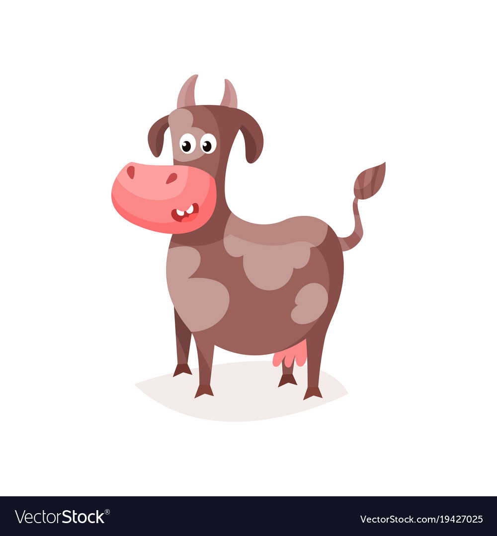 Funny brown spotted cow cute milk cow cartoon vector image