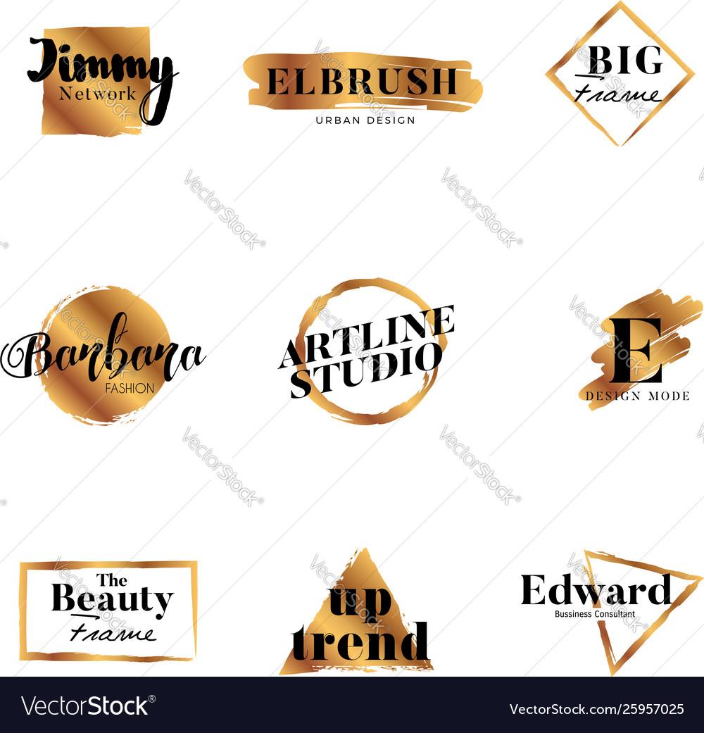 Golden brush typography logo