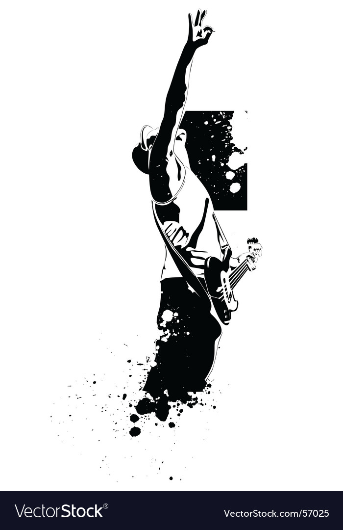 black and white guitar player. vector guitar black player on a white background. Keywords: