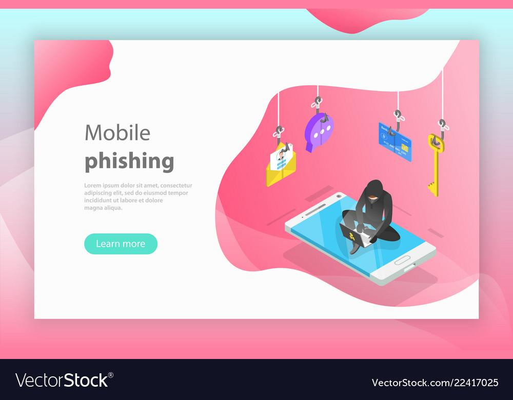 Isometric concept of phishing computer