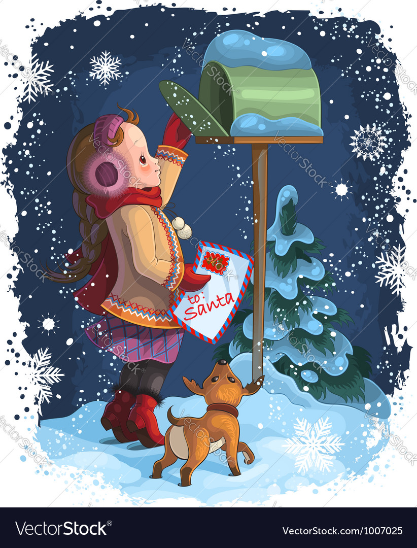 Little girl and puppy posting a letter to santa