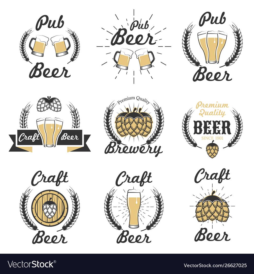 Set craft beer emblems logos badges