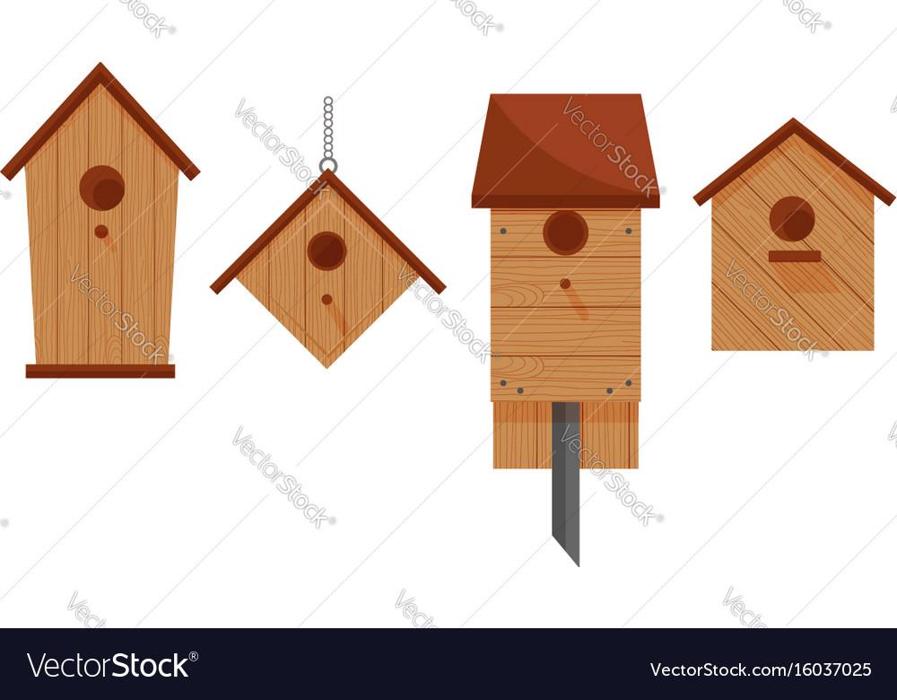 Set of four wooden birdhouses vector image