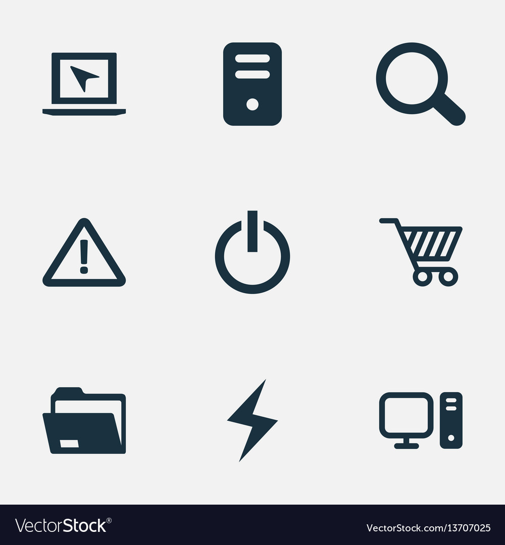 Set of simple computer icons