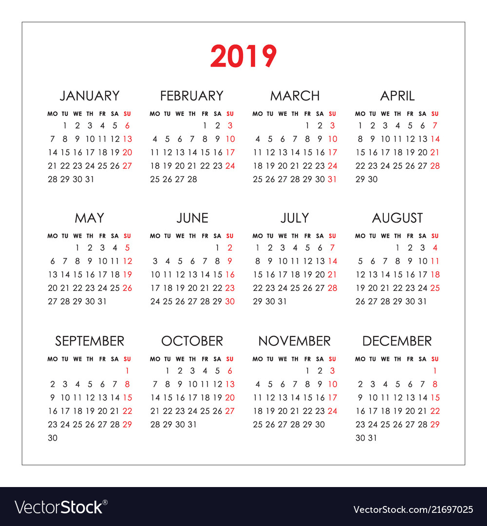 Simple calendar for 2019 year week starts monday