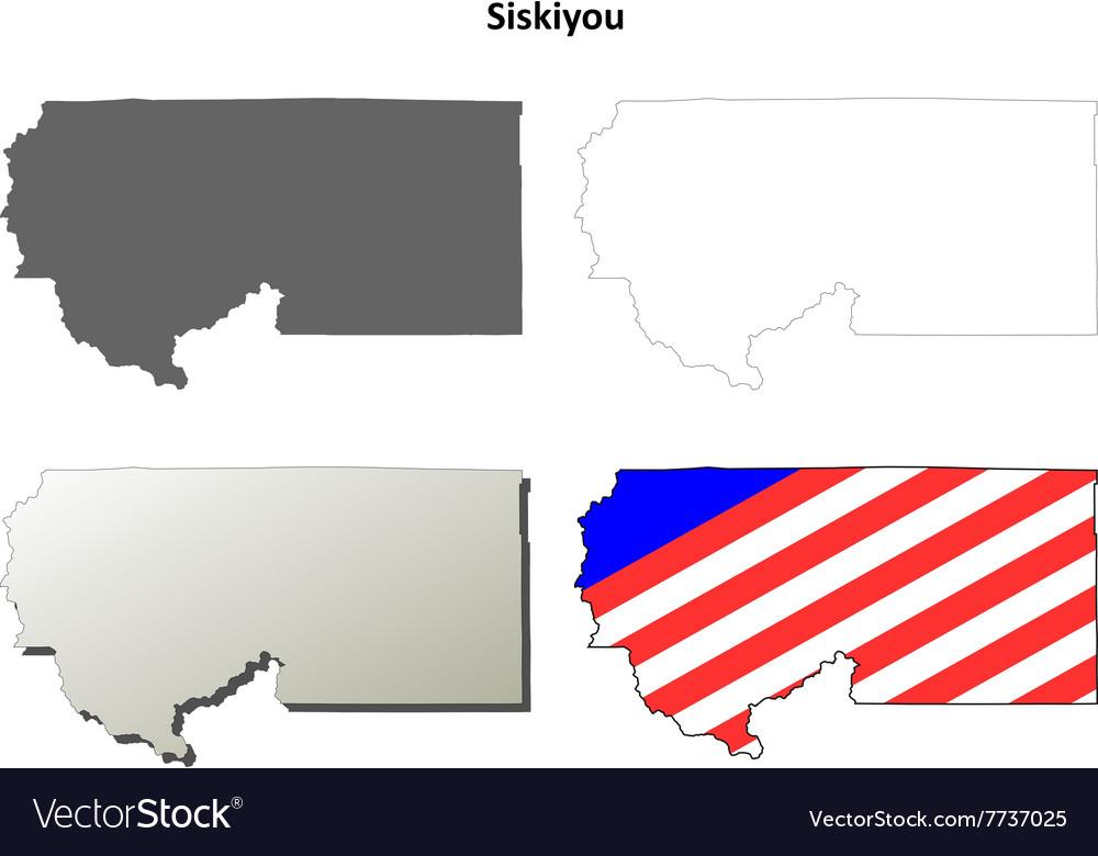 Siskiyou County California Outline Map Set Vector Image