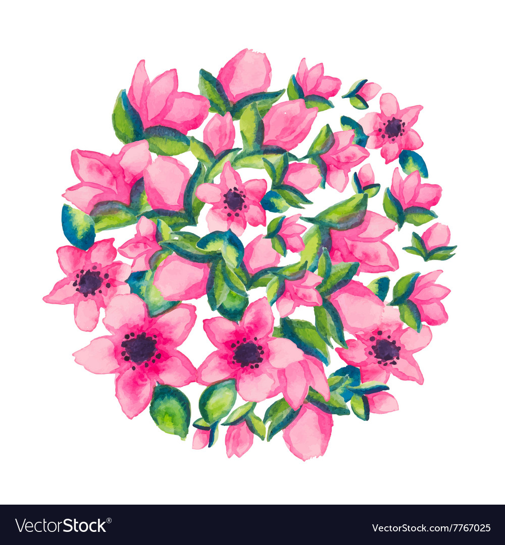 Spring watercolor with colorful flowers sacura