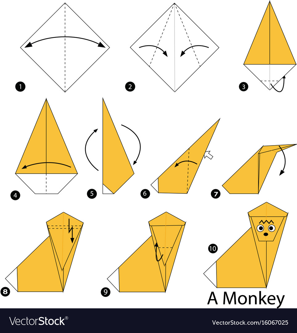 Step instructions how to make origami a monkey vector image